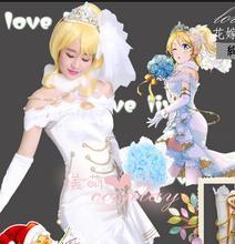 LoveLive!Eli Ayase   Seven Lucky Gods Awaken Cosplay Costume Halloween Wedding Dress+Bridal Veils+Crown+Socks+Bouquet+Gloves все цены