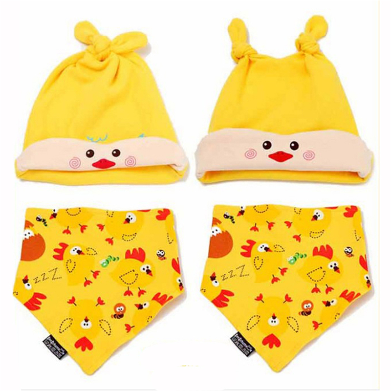 01400c3deace 2 pcs   set Hot Sale Newborn Hats Bibs Baby Boy Girls Cap Toddler ...