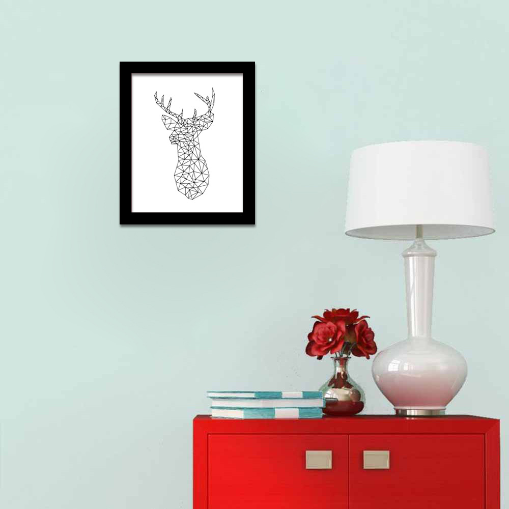 N11 Geometric lines pattern elk painting, creative color animal paintings frameless decorative painting canvas home decoration line art