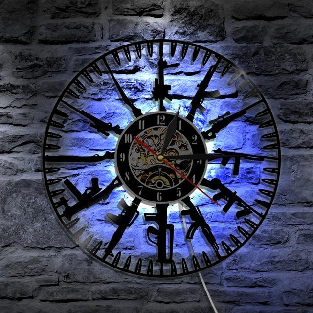 1piece bullet time wall clock gun breeds led light wall art wall 1piece bullet time wall clock gun breeds led light wall art wall light led backlight gift aloadofball Images