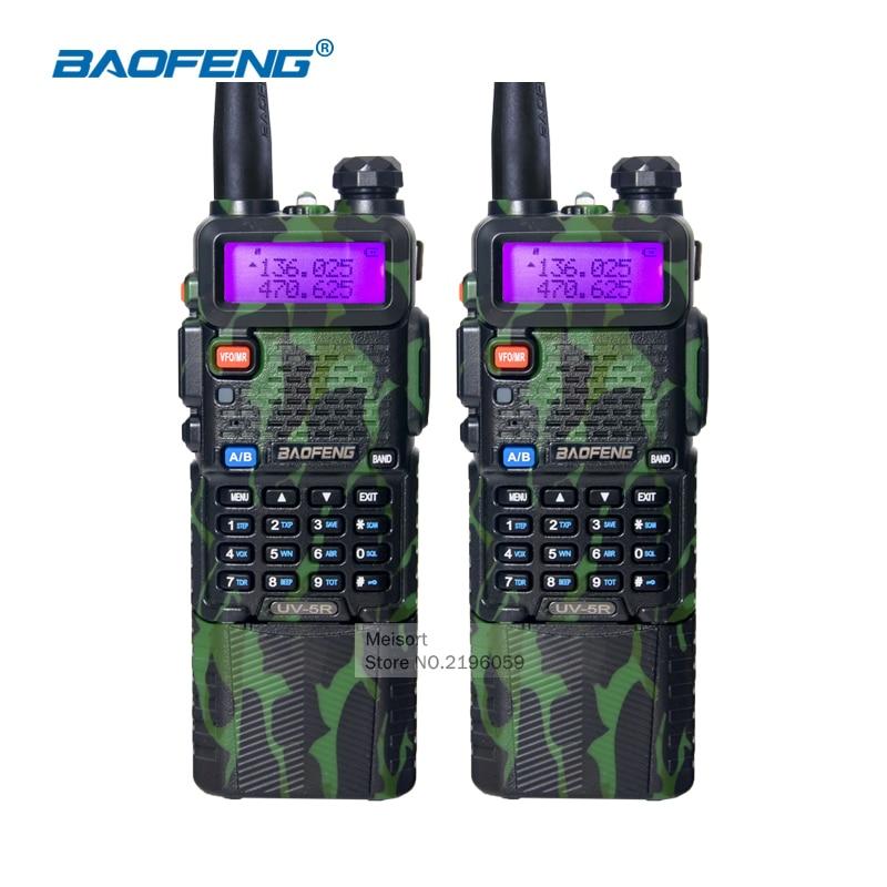 imágenes para 2 unids Comunicador BaoFeng UV5R Radio Portátil 136-174/400-520 Mhz de Banda Dual Con 3800 mAh batería de Li-ion Walkie Talkie militar