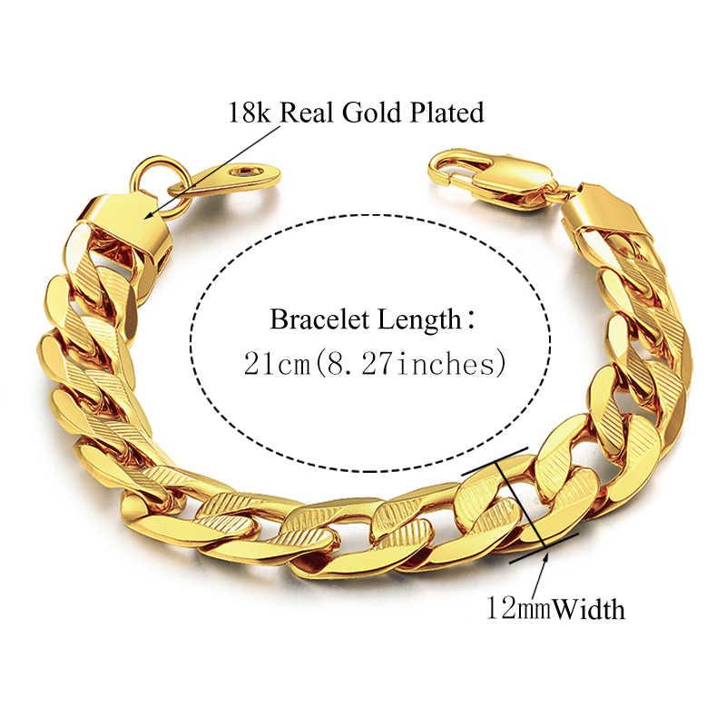 Męskie damskie zestawy biżuterii Dubai złoty kolor stal naszyjnik ze stali zestaw bransoletek Hiphop Curb kubański gruby łańcuch hurtownia biżuterii