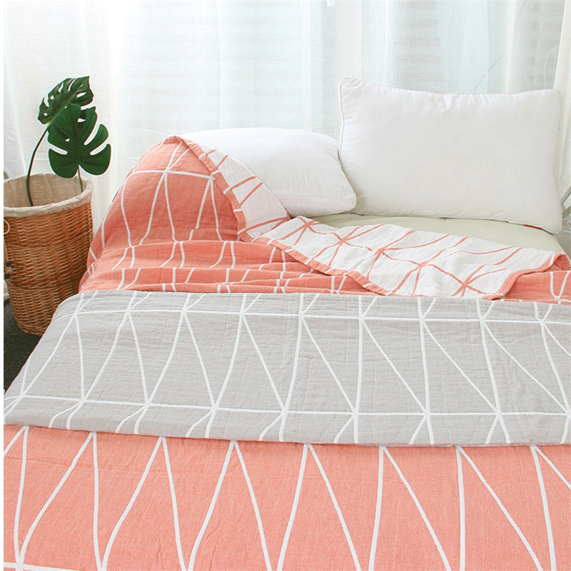 3 Layer Cotton Gauze Muslin Blankets Soft Summer Coverlet 150*200 200*230cm Yarn Dyed Geometric Grey Pink Blue Orange