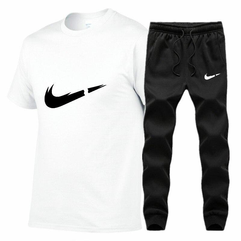 2019 Summer JUST BREAK IT Print New Men's T-shirt Tracksuit Casual Suits Gym Clothing Man Sets Tops+Pants Male Sweatshirt Men