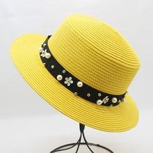 Женские пляжные кепки, козырек от солнца, Соломенная Панама, шляпы для женщин, элегантная жемчужная шляпа от солнца с широкими полями, летняя фетровая соломенная шляпа