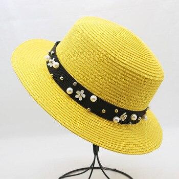 4c0f64058 Gorros de playa para mujer sombreros de visera de paja panamá para señora  elegante perla sombrero de Sol de ala ancha de paja de verano sombrero capeu