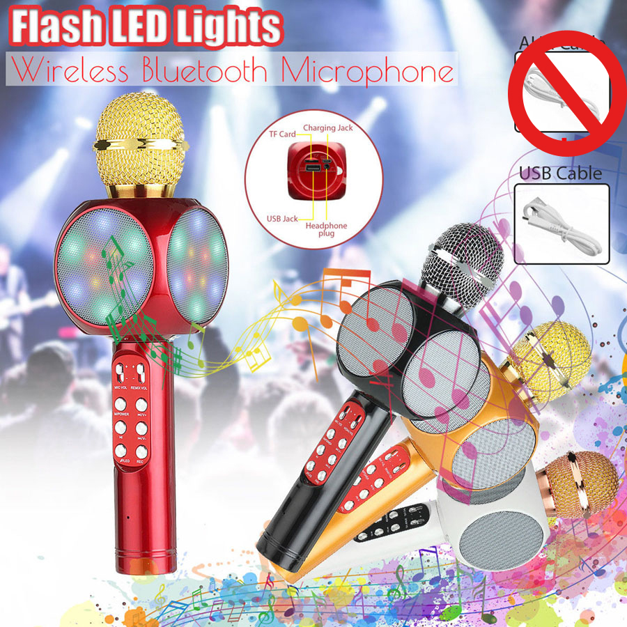 JRGK Fashion Flash LED Light Black Red Wireless Microphone WS1816 Handheld Bluetooth Microphone Mobile Music Player