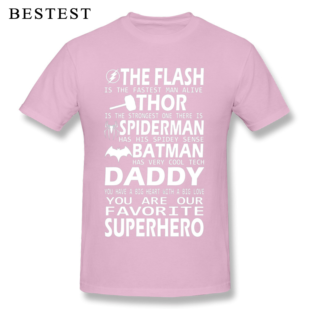 100% Cotton Men's Short Sleeve Daddy SuperHero 4279 Top T-shirts 3D Printed T Shirt Plain Cool Crew Neck Tees Wholesale Daddy SuperHero 4279 pink