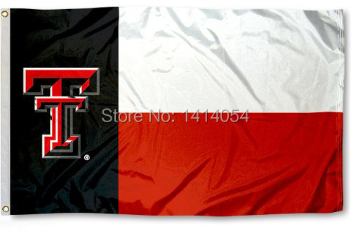 Texas Tech Red Raiders Texas State Flag 150X90 CM NCAA 3X5FT Banner 100D Poliestere passacavi custom009, spedizione gratuita