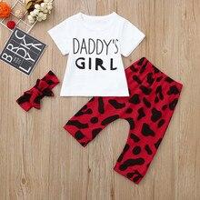 e8e7df79a Dia do pai Do Bebê Roupas de Menina Carta de Impressão T-Shirt + Calças  Elásticas Longo Leopardo + Kawaii Cabeça Ocasional conju.