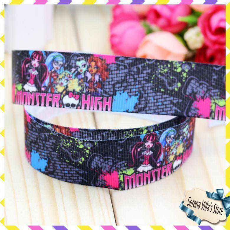 Новый 7/8 «Monster High печатная корсажная лента hairbow головные уборы украшение партии 22 мм пользовательские для детей и младенцев рождественские Лидер продаж