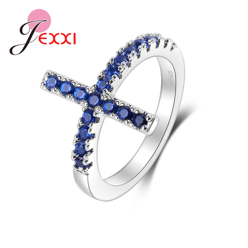 JEXXI Simple Cross Style Finger Rings Men 925 Sterling Silver Blue CZ Full Crystal Birthday Party Jewelry Accessories Bague Big