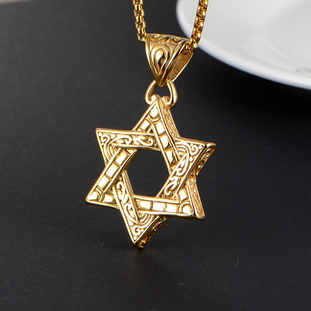 Fine Jewelry Mens Stainless Steel Antiqued Star Of David Pendant MQ0nB