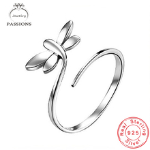 Fashion Personality Silver Plate Rings Open Wide Adjustable Finger Ring Ideal Dragonfly Wing Rings For Women's Gift Jewelry