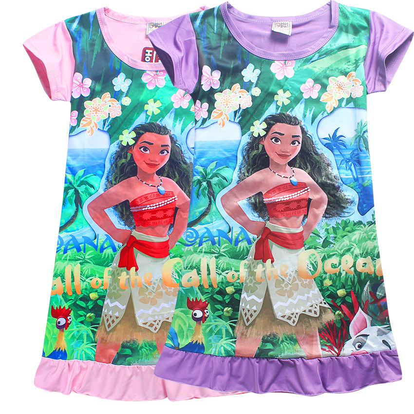 Children Kids Girl Tees Dress Fashion Moana Clothing Girls Princess Dresses Pajamas Nightgowns Sleepwear 4 5 6 7 8 9 10 Years