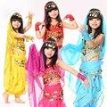 Дети Танец живота Индийский Набор Костюм 5-кусок (Сверху, пояс, брюки, головной убор и Рукава) Болливуд Танцевальные Костюмы для Девочек