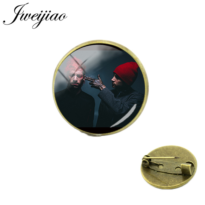 JWEIJIAO New 20mm Twenty One Pilots Brooches Glass Cabochon Dome Antique Bronze Metal Badge Clothes Bag Pin TO21(China)