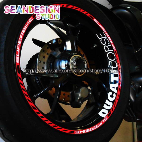 For Aprilia MV Agusta Yamaha Kawasaki Honda BMW 848 1098 GSXR Wheel Sticker Decal Reflective Rim Motorcycle Suitable for 17 inch