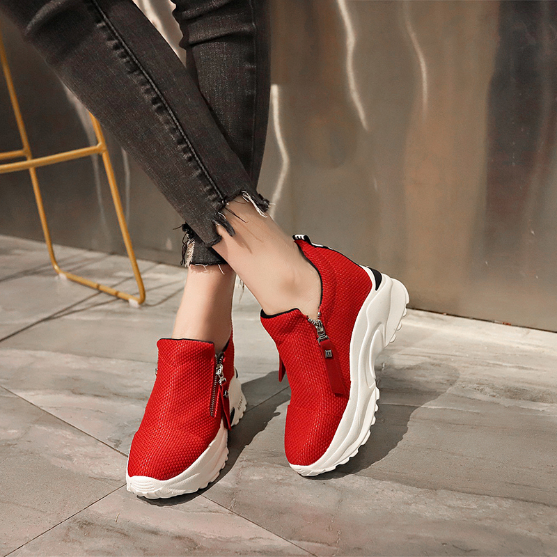 Lucyever 2019 New Spring Ladeis Casual Sneakers Women Height Increasing Vulcanized Shoes Woman Footwear Leisure Ankle Boots 16