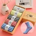 Cuatro Estaciones de las Nuevas mujeres de algodón a rayas calcetines de las mujeres calcetines deportivos sudor en los calcetines de tubo (con regalo caja)