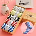 Four Seasons New women's striped cotton socks women's socks casual sweat in the tube socks (with gift box)