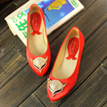2015 spring and autumn new arrival genuine leather shallow mouth pointed toe fox flat single shoes plus size women's shoes