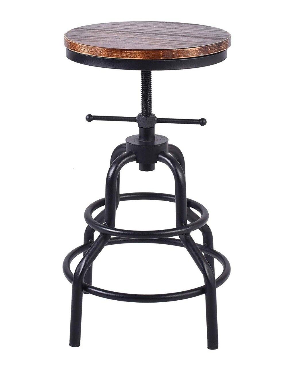 Topower Industrial Retro Pinewood Metal Bar Stool Adjustable Height Swivel Pub Kitchen Round Pinewood Swivel Bar Stool