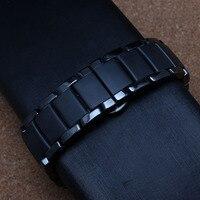 Черный керамический ремешки для специальных загнутым концом часы мужчины чехол ар 1452 высокое качество черный пряжка мода ремешок браслеты