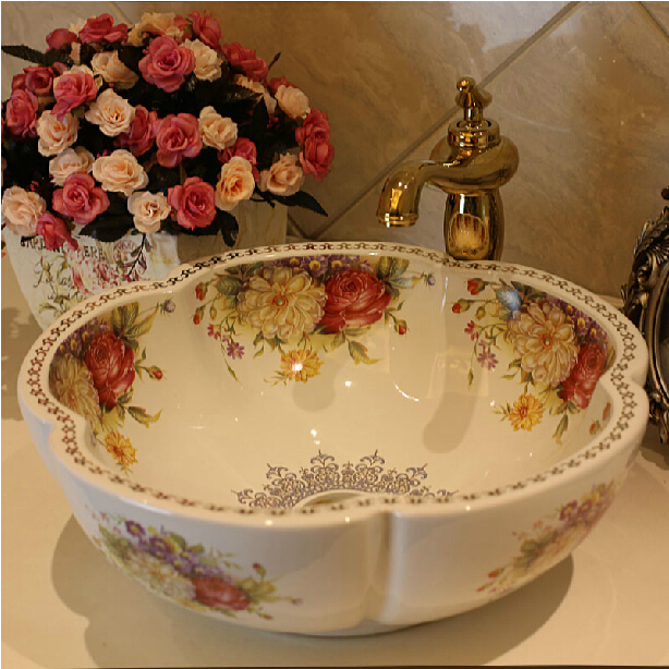 Europe Style Handmade Flower Shape Countertop Ceramic Bathroom Basin Sink - The Fourth Dimension Of Life store