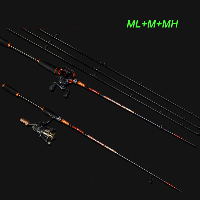 2016 New 3 Tips 2.1M Lure Rod Set Casting Rod with ML M MH 210CM Spinning Rod Carbon Fishing Rod Combo Baitcasting reel sesknight new double tips 2 1 meters m mh 4 18g lure fishing rod 98