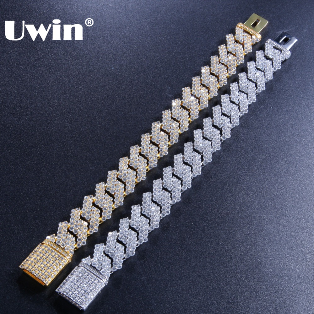 Uwin Luxury Bracelets Micro Pave Cubic Zirconia Bling Bling Gold Silver Color Iced Out Cuban Links