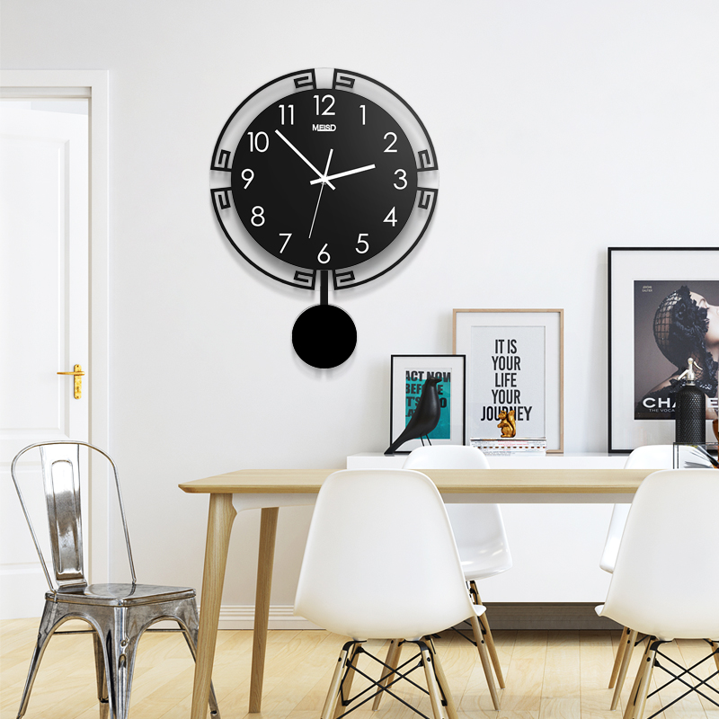 2019 Swingable Large Wall Clock Silent 3D Digital Modern Design Acrylic Horloge Home Decoration Black Quartz Watch Free Shipping