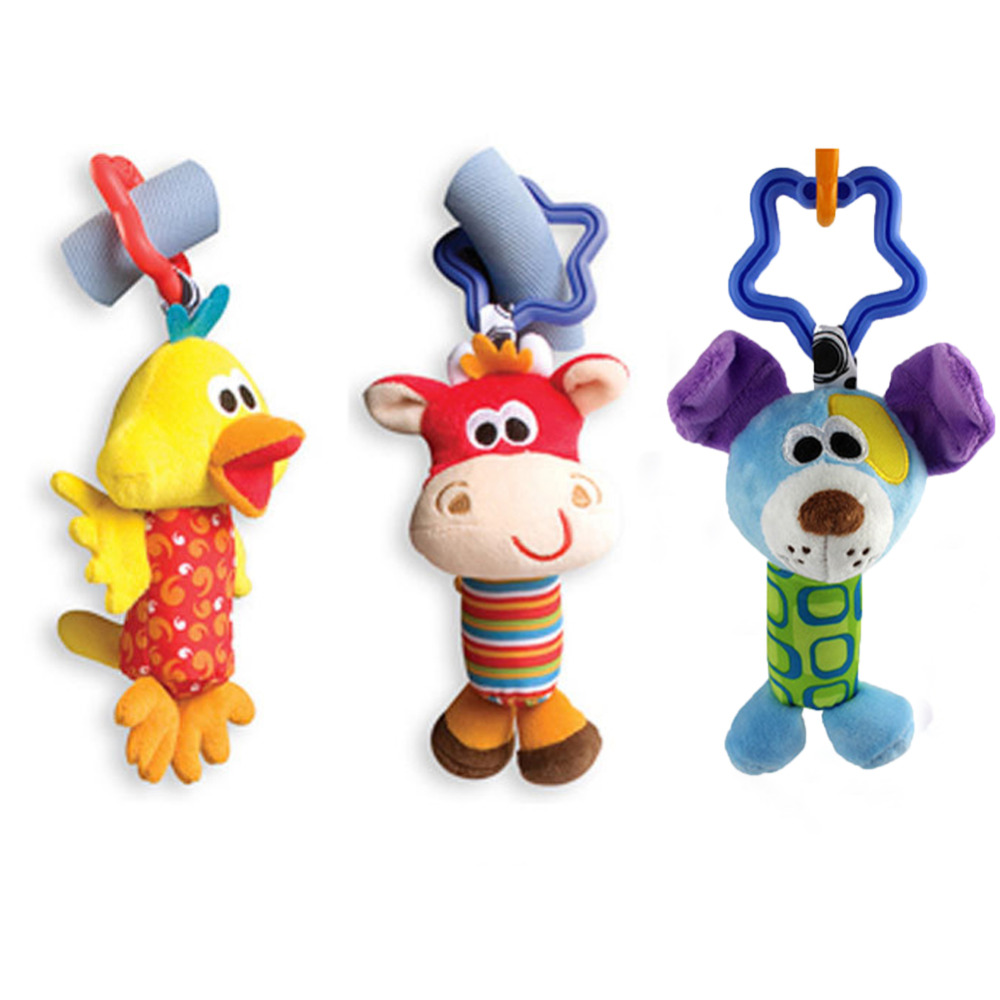 2016 Baby Toys Rattle Tinkle Hand Bell Plush Stroller Kids Toys Cute Animal Duck Dog Fawn Baby Toy
