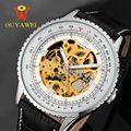 Ouyawei preto relógio masculino homens relógios esqueleto montre homme dos homens relógios top marca de luxo relógio de pulso de couro homens relógio mecânico