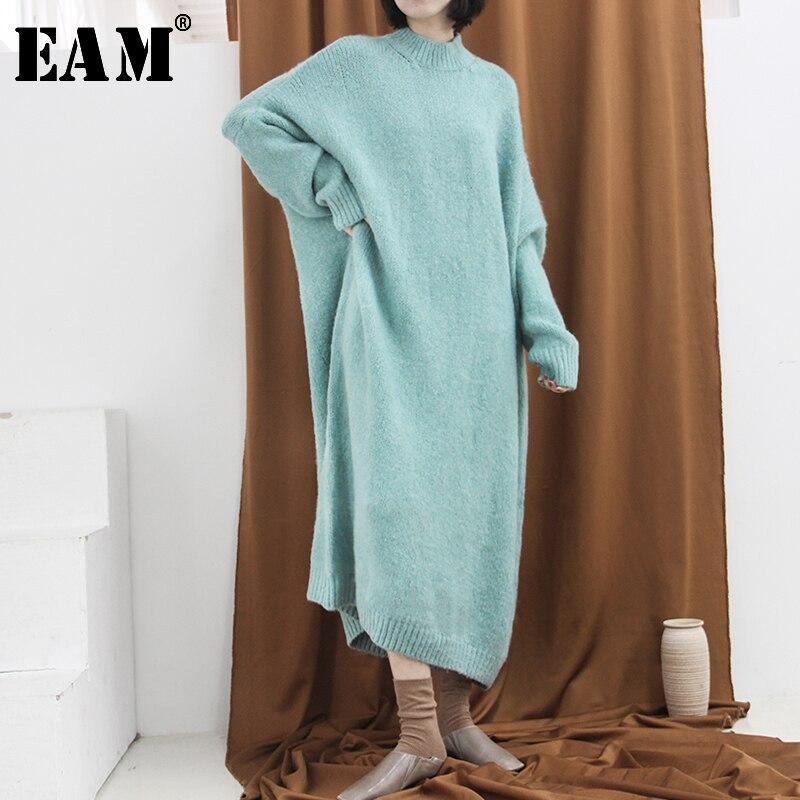 [EAM] 2019 New Autumn Winter Round Neck Long Sleeve Black Pleated Irregular Hem Stitch Knitting Sweater Women Fashion Tide JO002