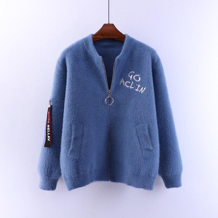 Femme Tout Manches allumette Cachemire Beige Tricoté Zipper D'impression blue Cou Longues Pulls Vestes red Femmes Vison black Candigans O Lettre Tops 57IqI