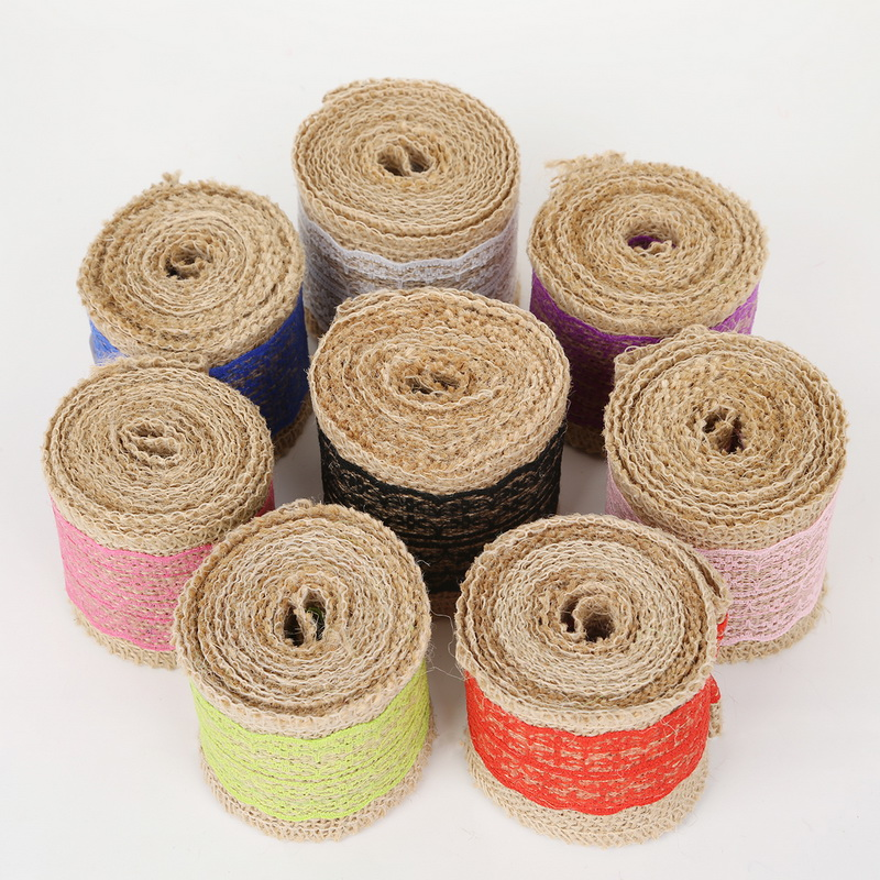 2m Rustic Hessian Cotton Twine Jute Burlap Rope Ribbon for Gift Wrapping
