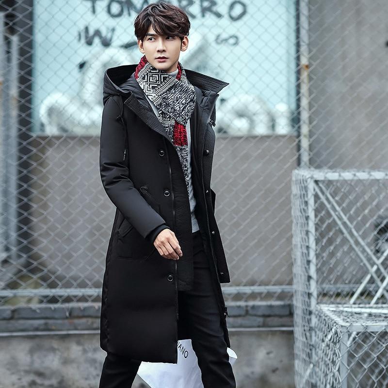 2017 winter men's Hooded 80% White duck down Down jacket Men's trench coat jackets Down Coats Long style zipper big size M-3XL