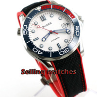 BLIGER Sport Style Mechanical Wristwatch White Dial Blue ceramic bezel 41mm White Dial Sapphire Crystal mens watch