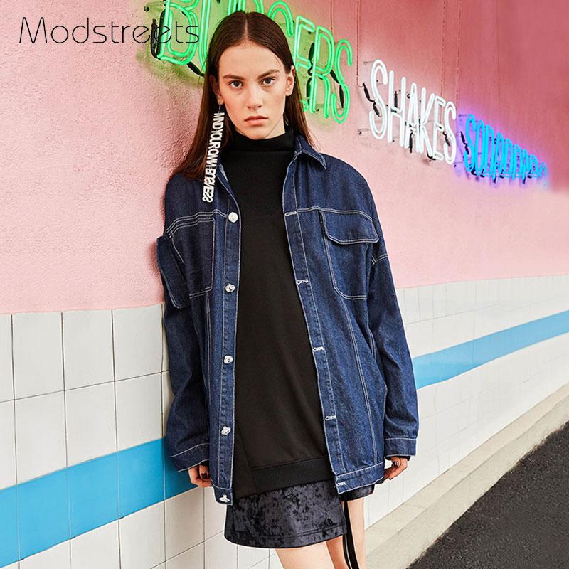 Modstreets BF Jeans Jacket Women Casacos Feminino Loose Patchwork Denim Jacket Lady Safari Style Vintage Jackets 2017 Basic Coat