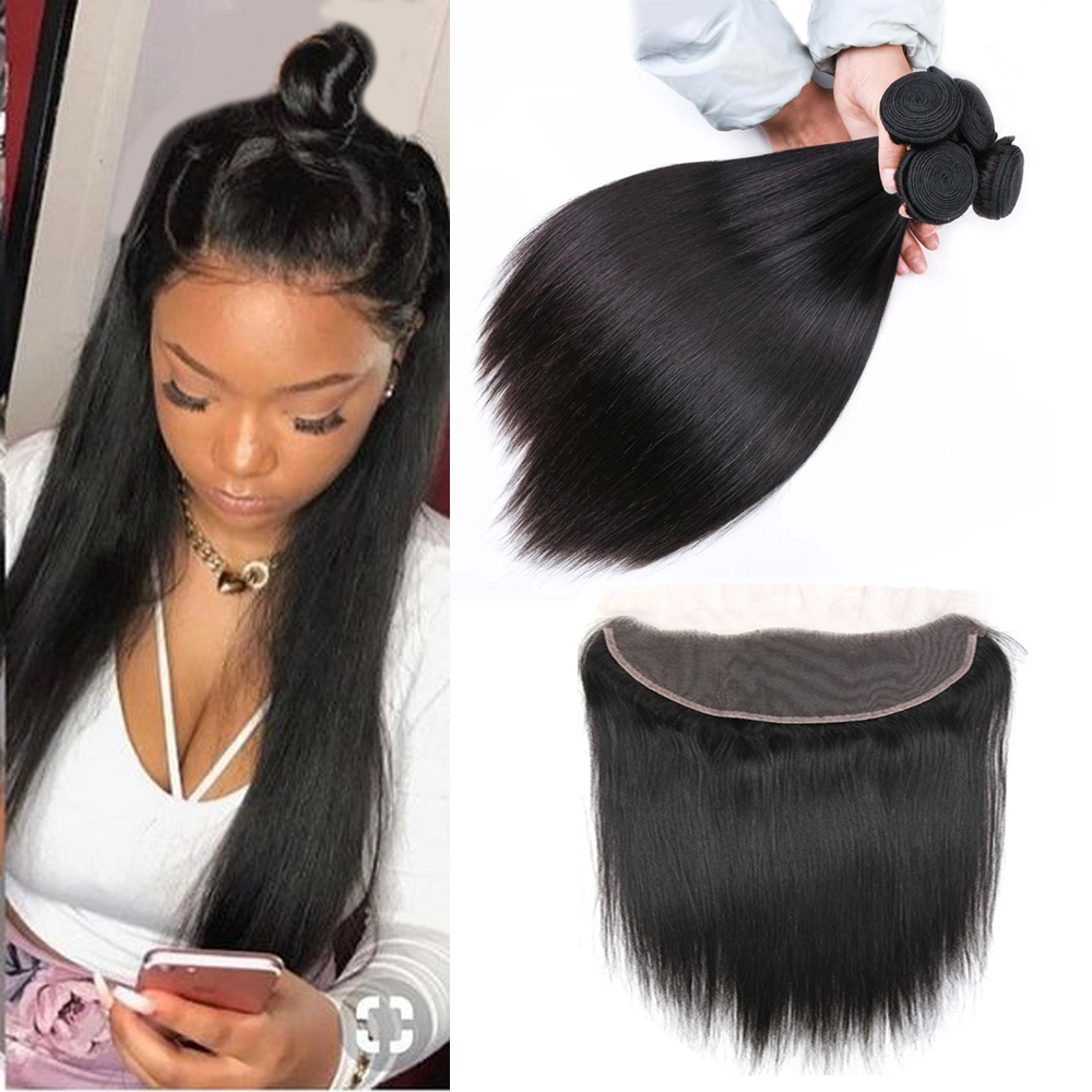 Hair-Weave-Bundles Closure Frontal Allrun Straight Brazilian with Non-Remy