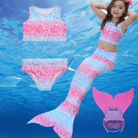 4 piece Mermaid Tail Suit Princess Dress Costume swimming Little Mermaid Tail Cosplay w Monofin Bikini For Girls Birthday Gift