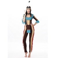 New Free Shipping Women Party Dress 2016 Pocahontas Native American Indian Wild West Fancy Dress Sexy
