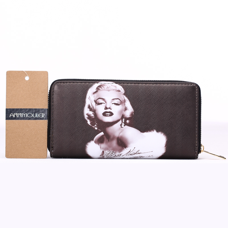 New Designer Women Wallets Pu Leather Card Holders 3D Marilyn Monroe Printed Wallets Long Size Coin Purse Billfold Wallet new arrival 2017 wallet long vintage man wallets soft leather purse clutch designer card holders business handbags clips
