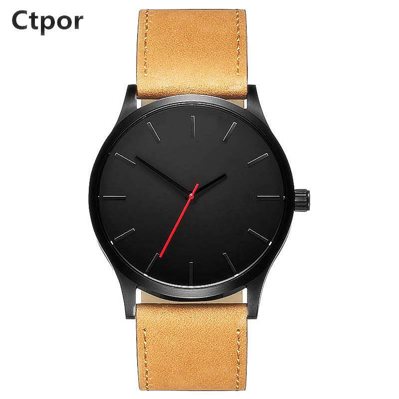 Ctpor Men Watches No Logo Watch Original Design Casual Leather Wristwatch Male 47mm Dial Quartz Clock Brand Simple Time XF1393 simple minimalism casual men quartz wristwatch number dial genuine leather band cost effective natural wooden design male watch