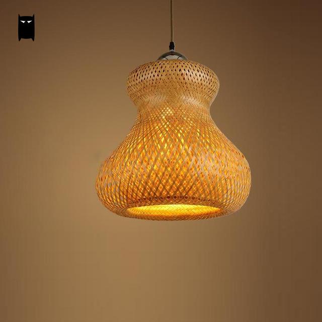 Hand Woven Bamboo Wicker Rattan Calabash Shade Pendant Light Fixture Rustic Creative Hanging Ceiling Lamp