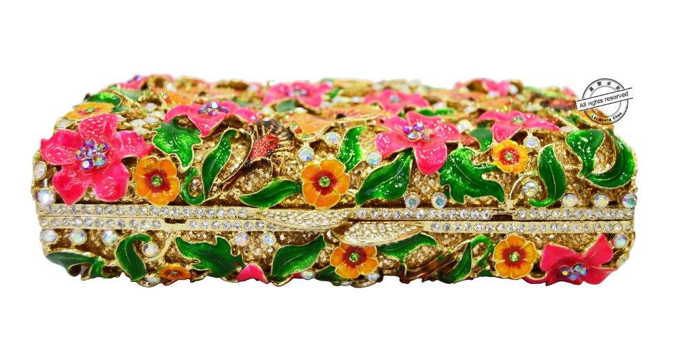 Ladies Parti Bal Papillon coloré Purse Designer Lumineux Fleur Sacs Clouté Sac Party Nouveau Main Femmes De Embrayage Soirée Sc210 Cristal À PU7wB