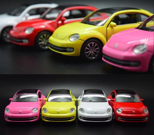 Candice guo alloy car scale model 1:36 new style beetle vehicle motor pull back baby collect Christmas present birthday gift 1pc