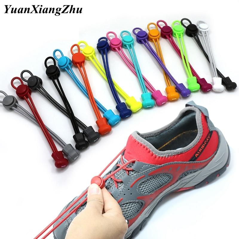 1 Pair 22 Colors Elastic Shoelaces Round Locking No Tie Shoe Laces Kids Adult Quick Lazy Laces Rubber Sneakers Shoelace T1