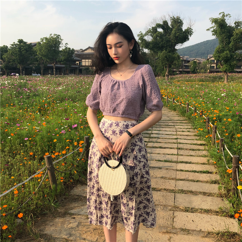 Lychee Girls Solid Color Elastic Hemline Shirts Square Collar Lantern Sleeve Shirts Spring Summer Women Vintage Casual Blouses